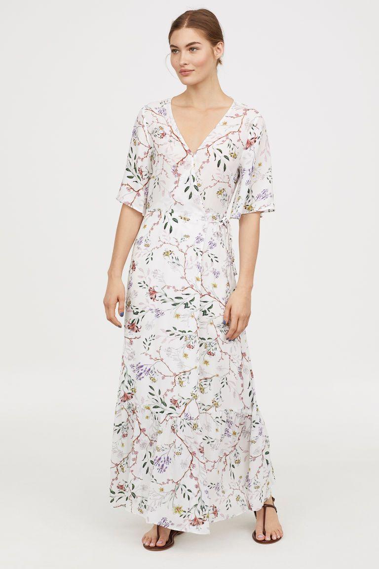 Patterned Wrap Front Dress White Floral Ladies H M Us Wrap Front Dress Maxi Dress With Kimono Short Sleeve Maxi Dresses [ 1152 x 768 Pixel ]