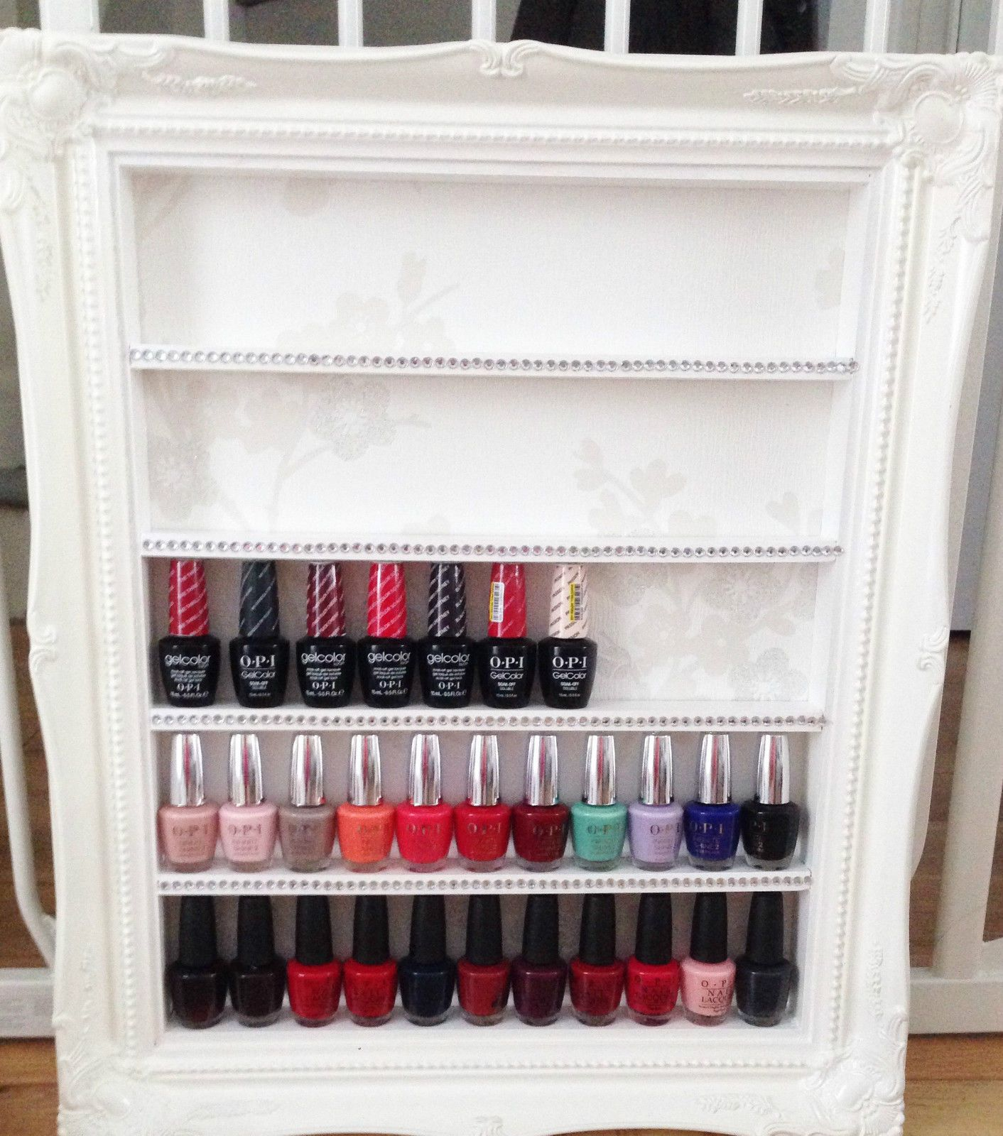 espositore smalti nail polish rack french shabby chic gelish shellac ...