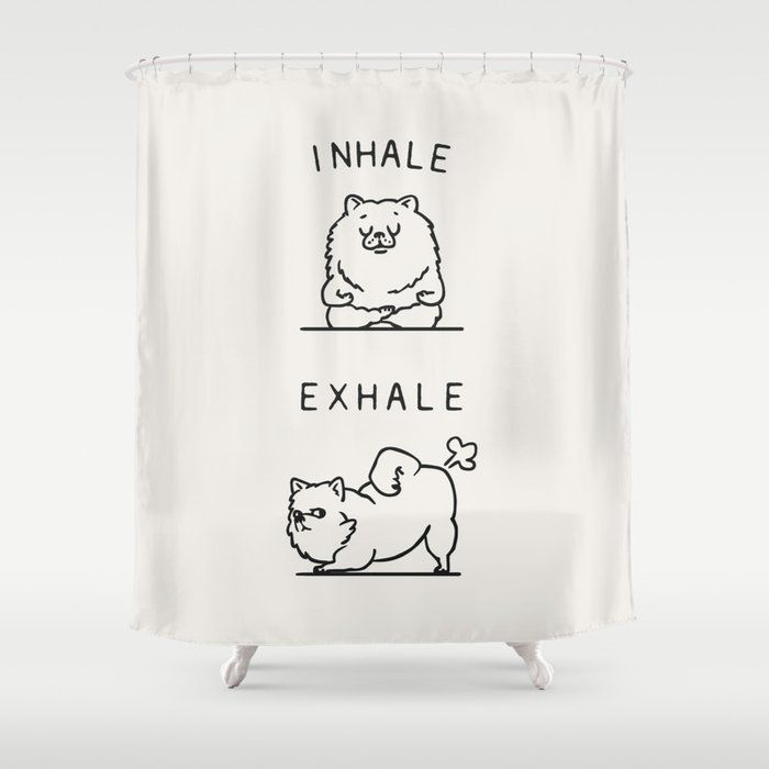 "Inhale Exhale Pomeranian Bathroom Shower Curtain by Huebucket - 71"" by 74"""