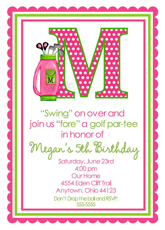 Golf birthday invitations golf invitations girls golfing party golf birthday invitations golfing party golf invitations pink girls birthday children filmwisefo
