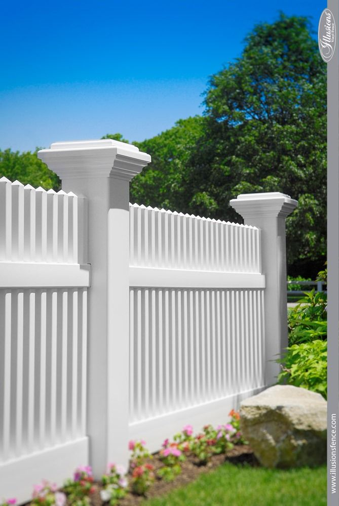 Who Makes The Best White Vinyl Fence Illusions Fence White Vinyl Fence Vinyl Fence Backyard Fence Decor