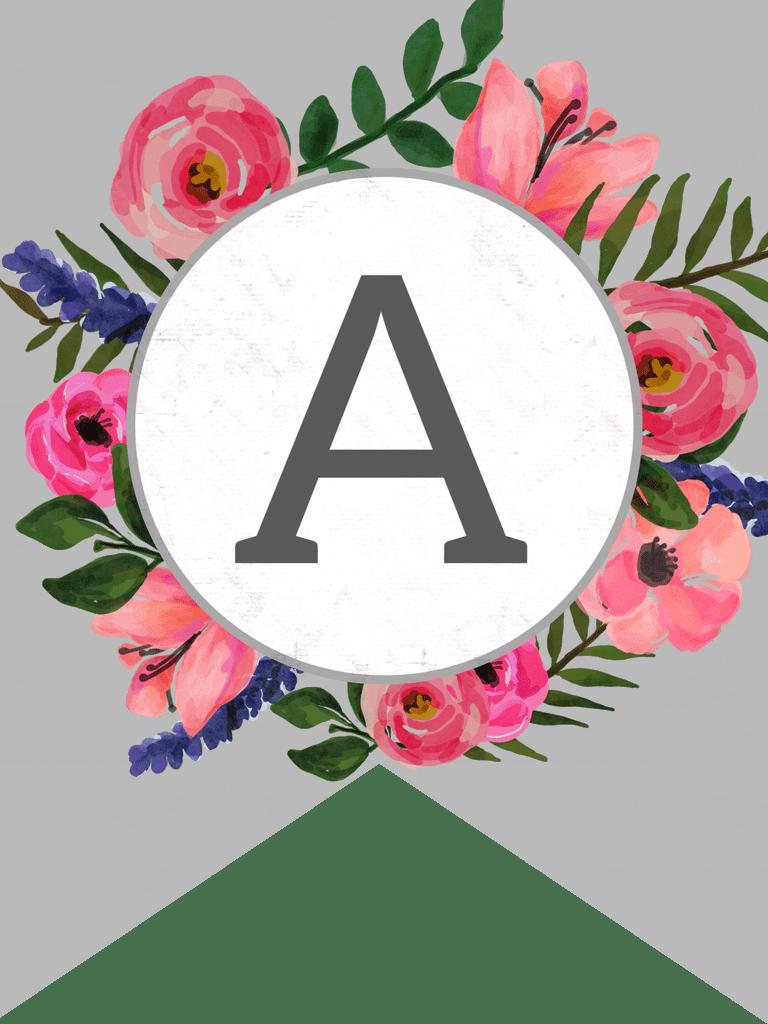 Floral Alphabet Banner Letters Free Printable Paper Trail Design Free Printable Banner Letters Printable Banner Letters Banner Letters