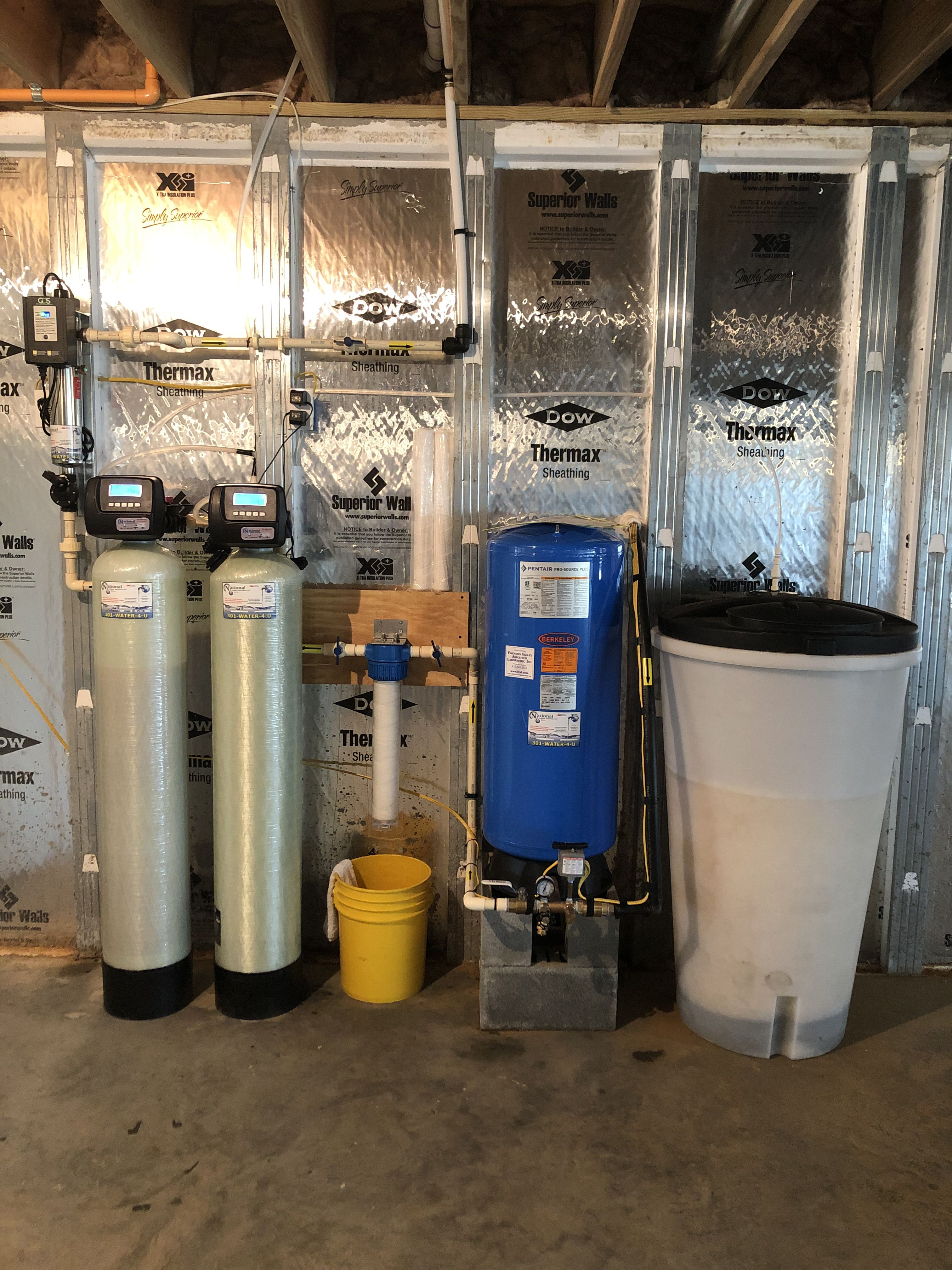 Install Of 2 Water Softeners 20 In Sediment Filter A Ultraviolet Light For Bacteria Disinfection Water Softener Water Treatment Water Quality