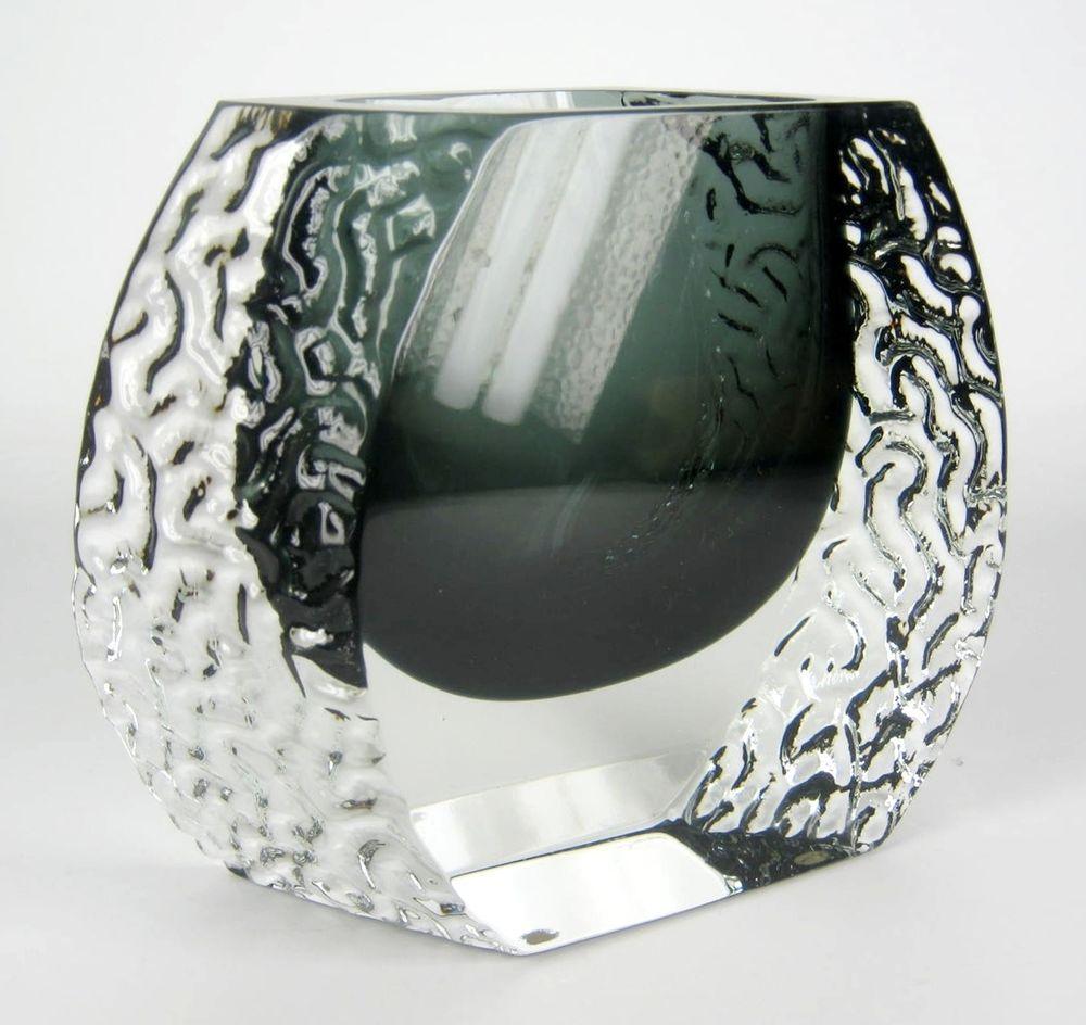 Mandruzzato Design Glas Vase Sommerso Vintage Cool Murano Italy Vintage 16cm