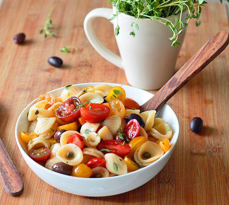 Pasta Caponata {Vegan} Recipe Main Dishes with orecchiette, cherries, pitted kalamata olives, olive oil, fresh thyme leaves, garlic cloves, capers, lemon juice, salt, pepper