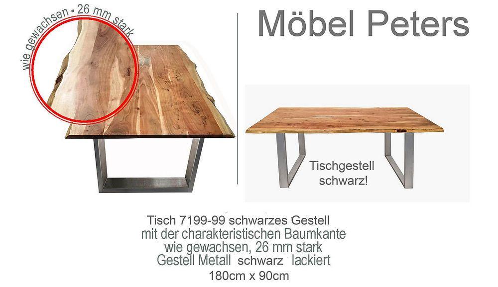 Details zu Esstisch Tisch 180x90cm Akazie massiv schwarzes Gestell