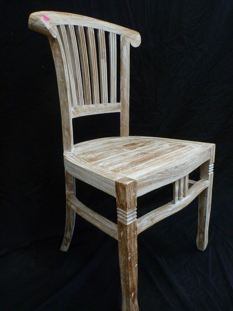 Balinese Teak Timber Dining Room Bedroom Restaurant Chair Seat White Wash Finish