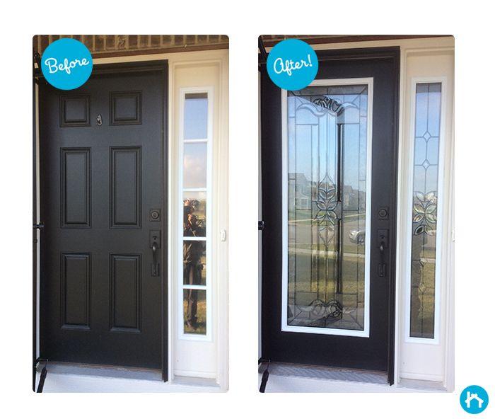 Cadence Decorative Door Glass   Front Door Transformation!