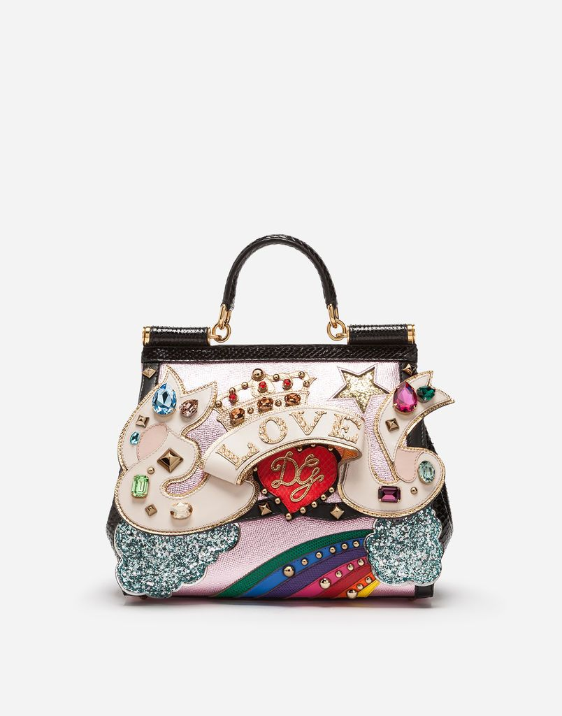 427e6dec1b4c MEDIUM SICILY BAG IN MIX MATERIALS WITH 3D PATCH AND EMBROIDERY ...