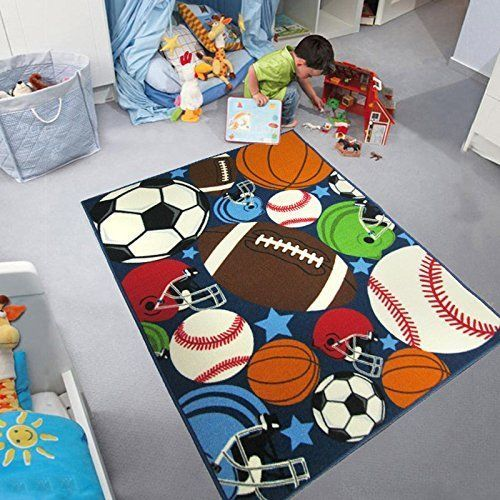 "Kids Room Area Rug Sports Balls Basket Soccer Football Playroom Carpet 39""x51"" #HKHome #Sports"