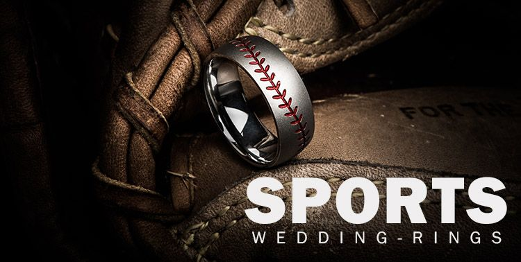 Show Your Love For The Game With A Sports Themed Wedding Ring From Titanium Buzz Including Stitched Baseball Bands Him And Her