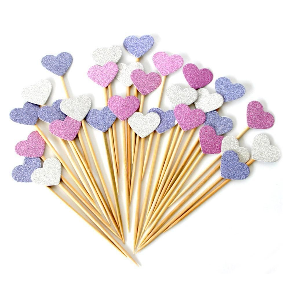 10X Birthday Cupcake Heart Shaped Toppers Party Baby Shower Wedding ...