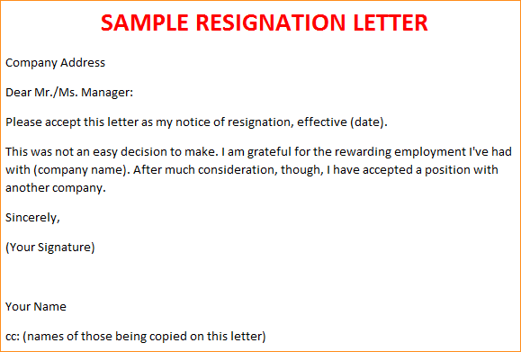 Letter Of Resignation Template Free | template | Resignation ...