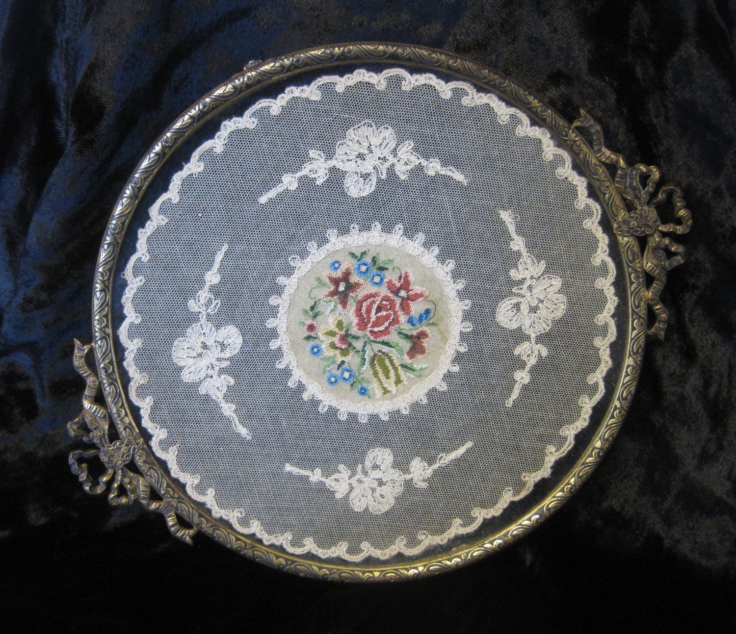Antique vanity tray with lace insert - Circular Dressing Table Tray With Petit Point Embroidery And Lace Insert Round Petit Point Vanity