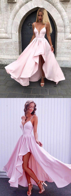 Simple pink v neck long prom dress pink evening dress long prom