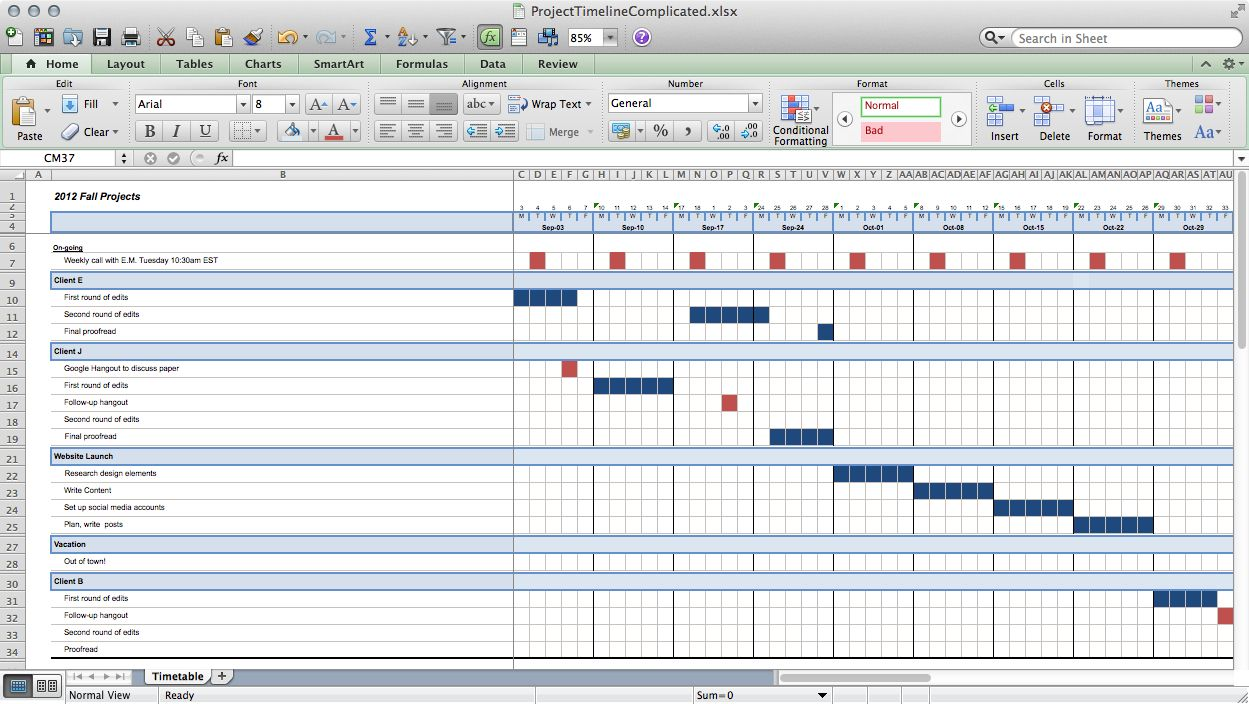 Great Example Of Excel Project Timelines For SimpleSingular And