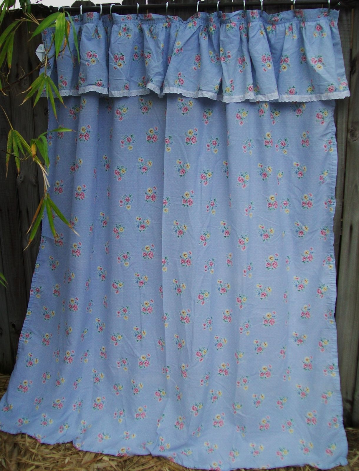 Light Blue Country Floral Fabric Shower Curtain With Lace
