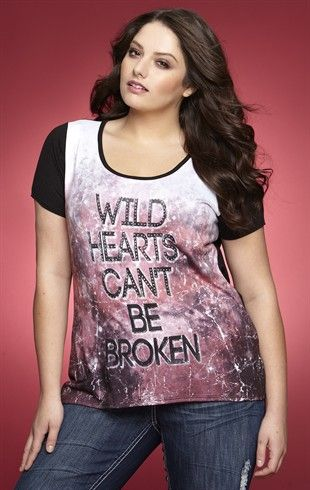 26d0ba7eb5 Deb Shops Plus Size Slash Back High Low Top with Wild Hearts Screen  24.90