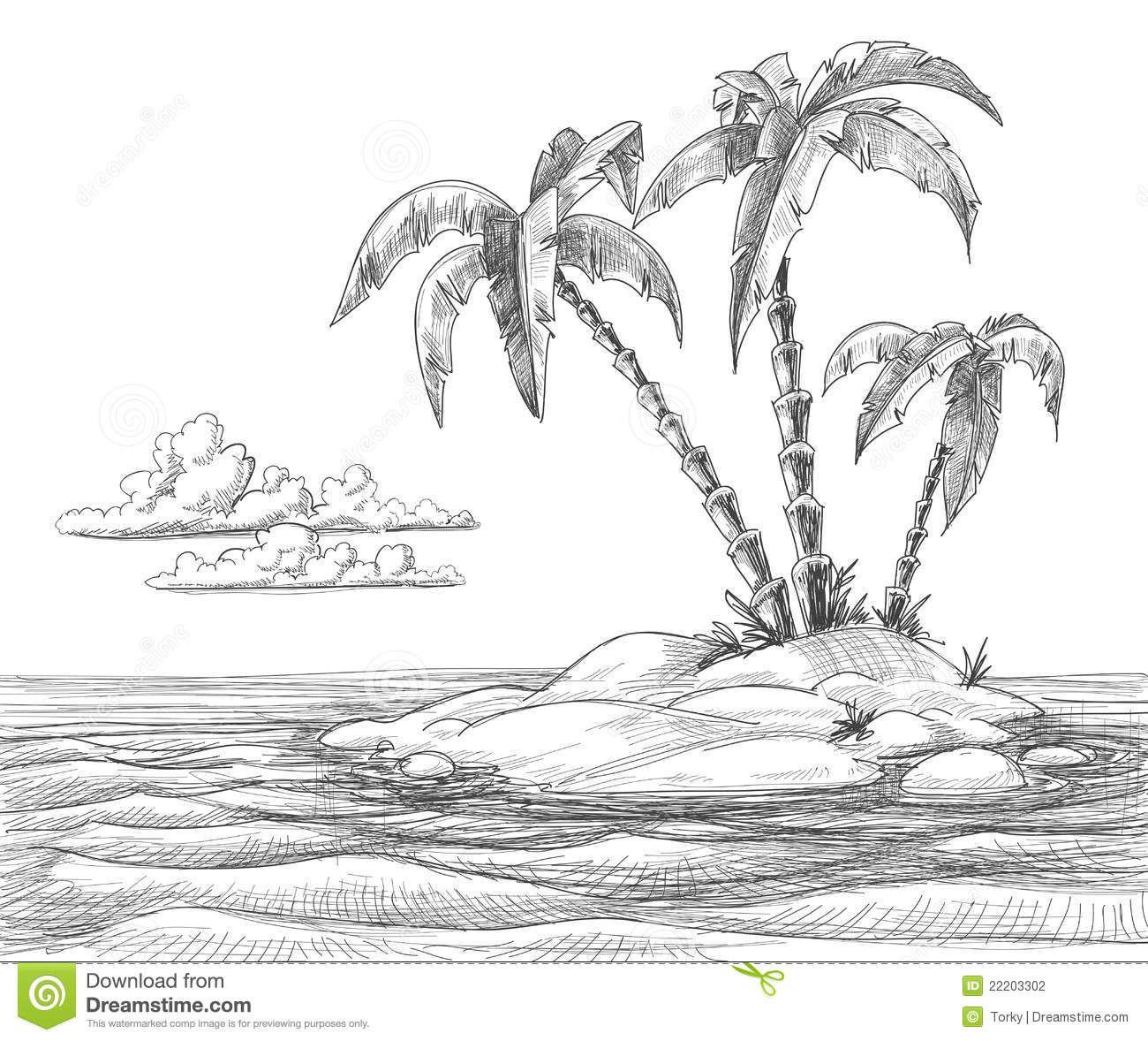 Ocean Landscape Pencil Drawings