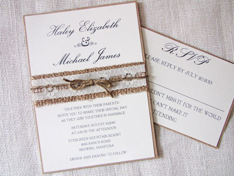 Rustic Country Lace And Burlap Wedding Invitation Deposit Listing 100 00 Via Etsy