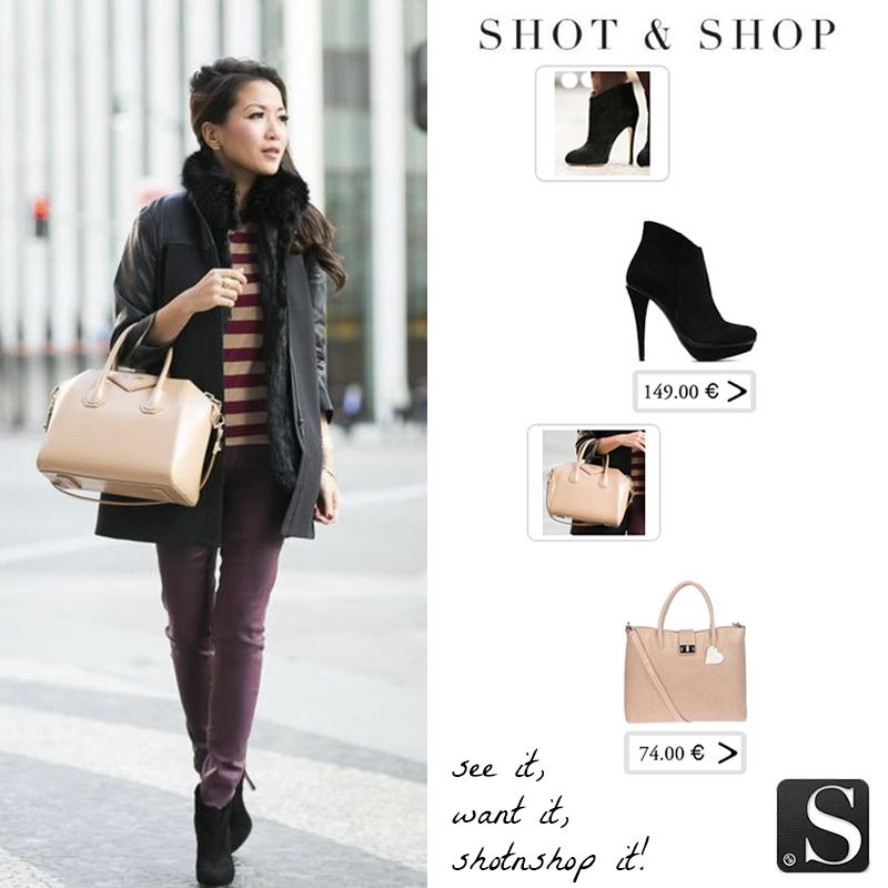 ¡Hemos encontrado con Shot & Shop un bolso en rosa palo muy similar al que lleva Wendy, blogger en www.wendyslookbook.com y unos botines negros exactos!