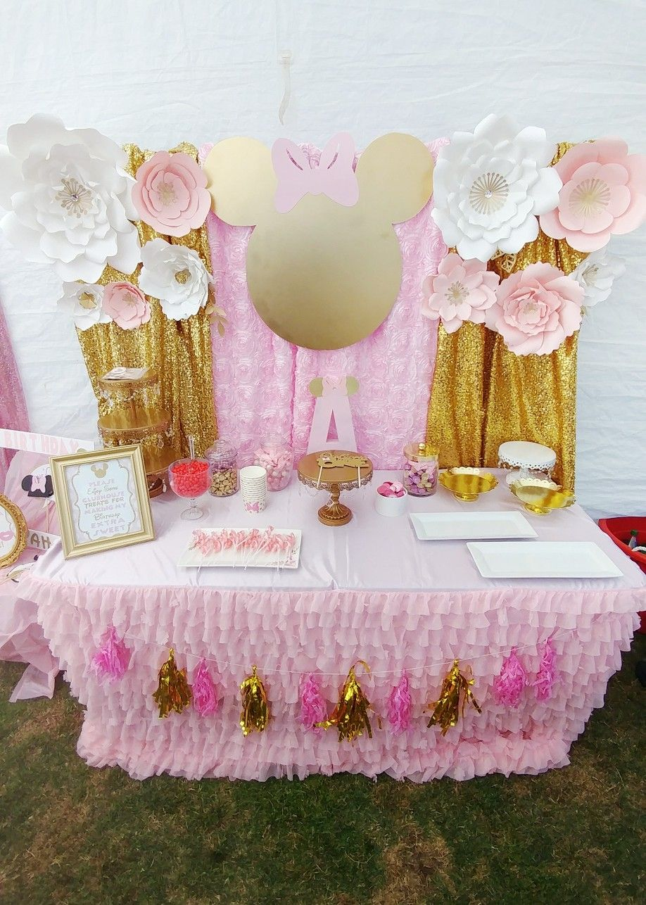 Pink And Gold Minnie Mouse Birthday Party Decoration Table Sweet Setup Photo Booth Backdrop Diy Display By Seruhrose Designs Princess Tassel Paper