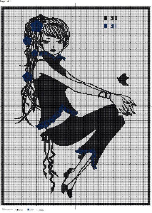 point de croix jeune femme moderne en pantalon cross. Black Bedroom Furniture Sets. Home Design Ideas
