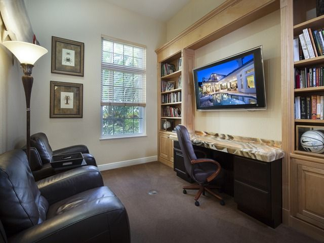home office theater room combo leather chairs granite desk flat screen naples