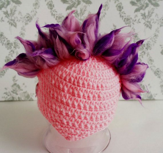 Sweet Pink Mohawk Baby Girl Hat, Photo Prop, Super Cool Beanie with ...
