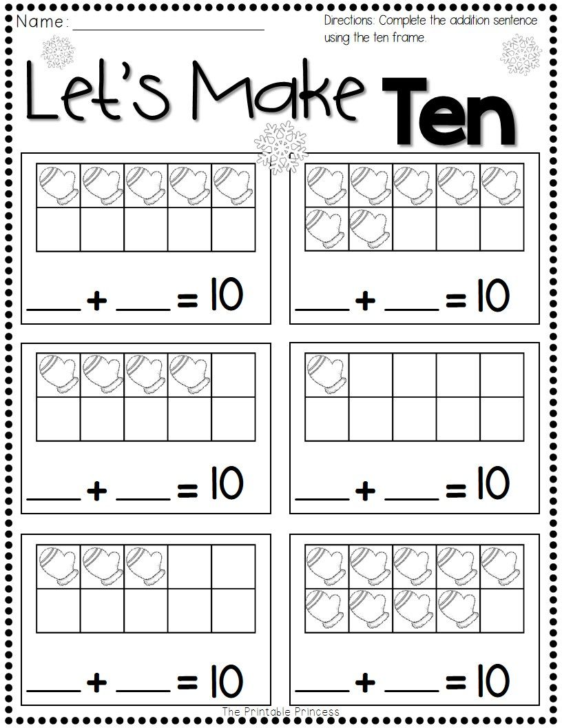 Winter Activities For Kindergarten Free Ten Frames Kindergarten Ten Frame Subtraction Kindergarten