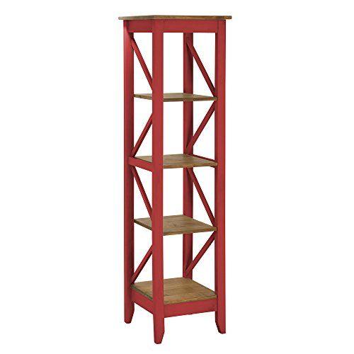 Manhattan Comfort Jay Collection Modern Accent 4 Shelf Open Tier Pattern Wooden Bookcase, Red/Wood