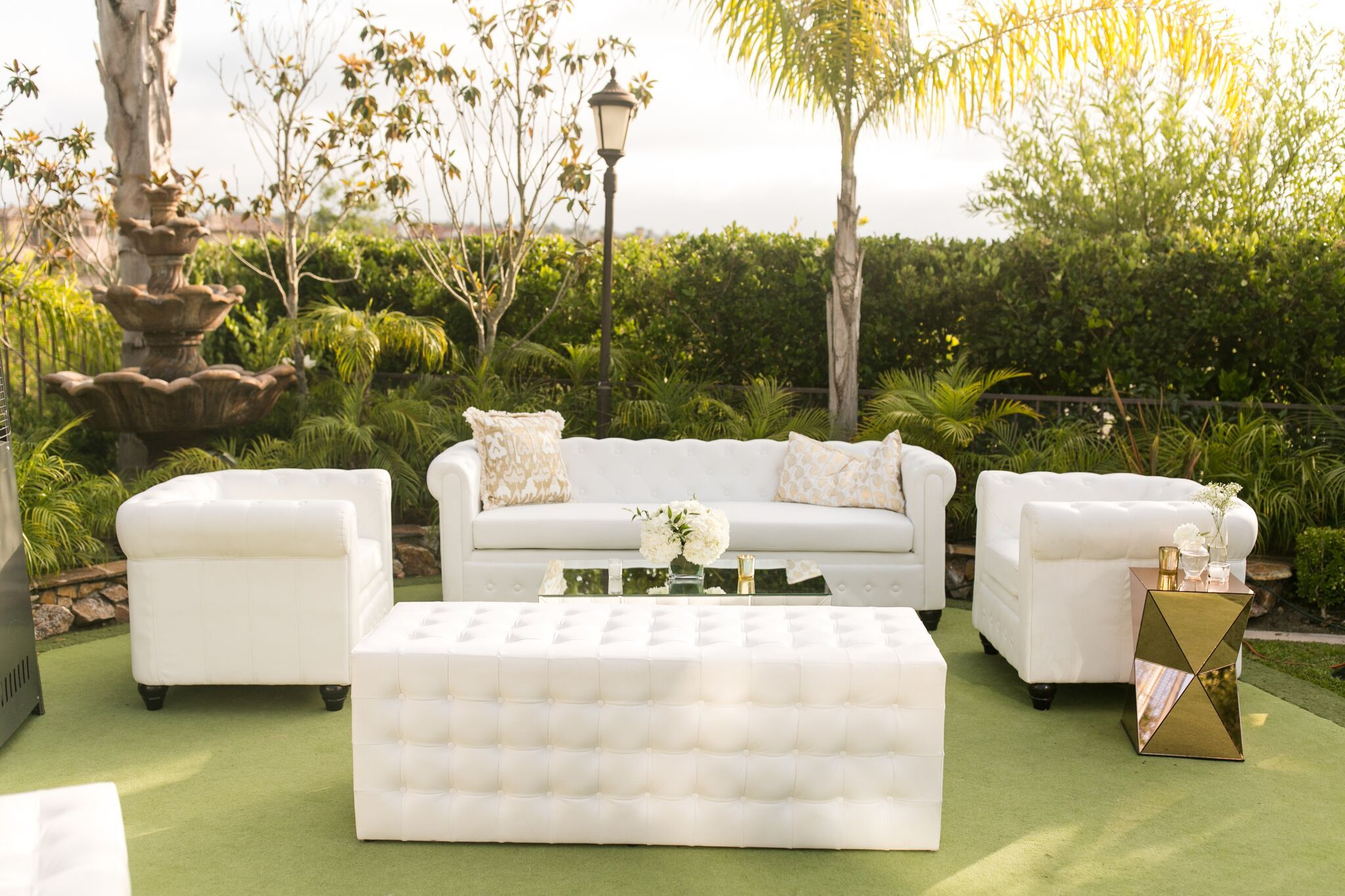 White leather furniture backyard party coordinated by gabi events outdoor furniture hire elegance florals s floral design