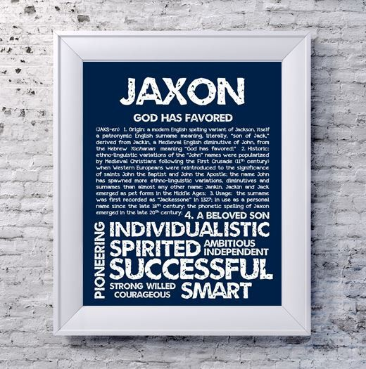 Jaxon Personalized Name Print Typography Print By Ohbabynames