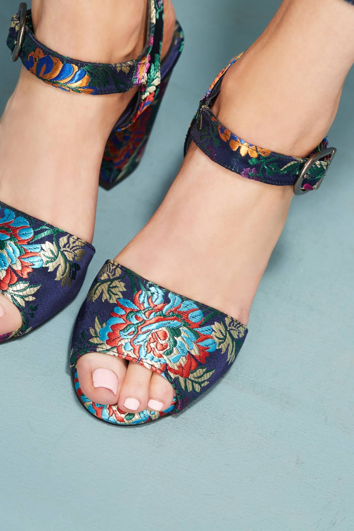 6580e384ebcd Shop the Chio Brocade Block Heel Sandals and more Anthropologie at  Anthropologie today. Read customer reviews