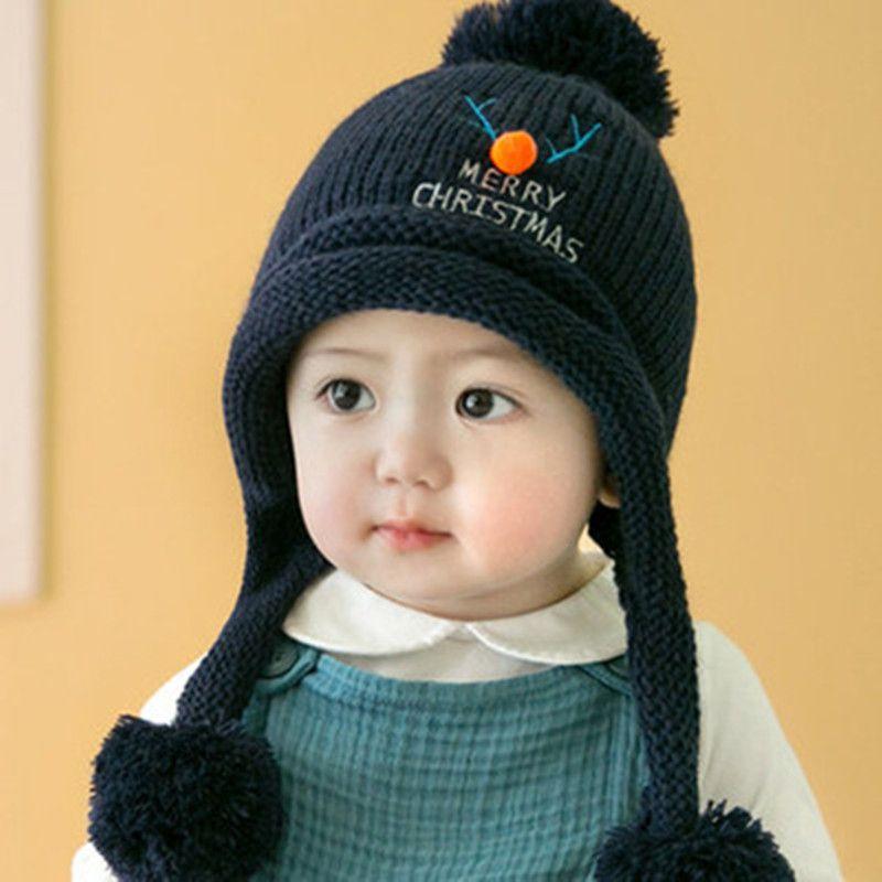640ba2cb3695f Ciervos de la Navidad de los niños de punto sombrero nuevo otoño y el  invierno bebé