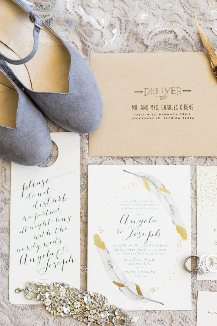 Neutral and Gold Invitation Suite With Feathers | Minted | Bri ...