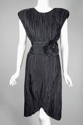 Black pleated taffeta 1980s cocktail dress DR749