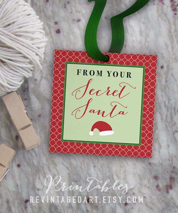 Secret Santa Tags Printable Christmas Gift Tags For Work School