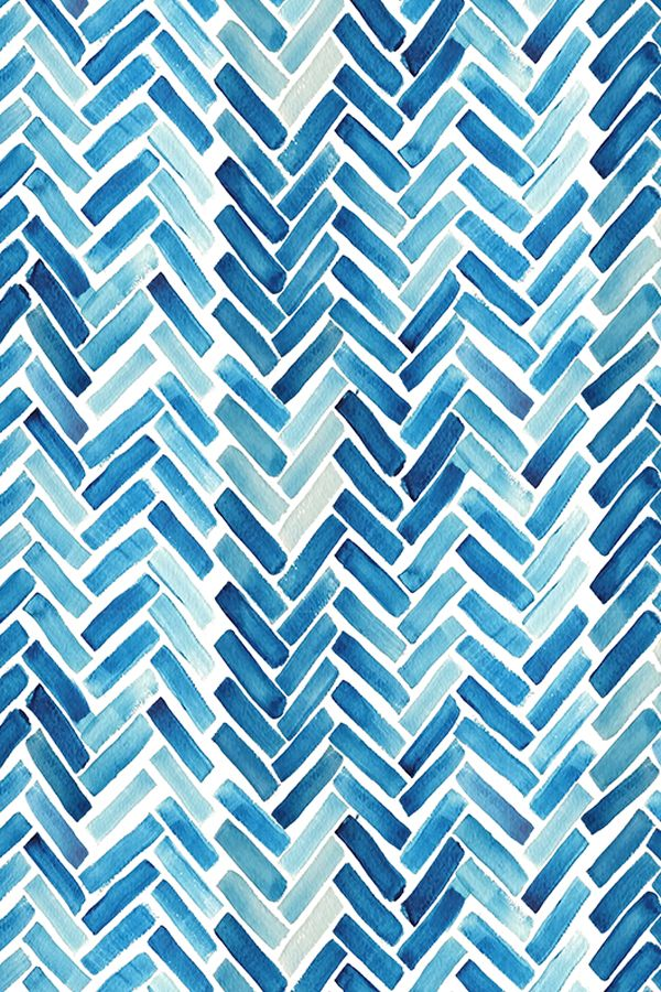 Modern Wallpaper Designs For Walls: Blue Watercolor Herringbone Design By Mrshervi On Fabric