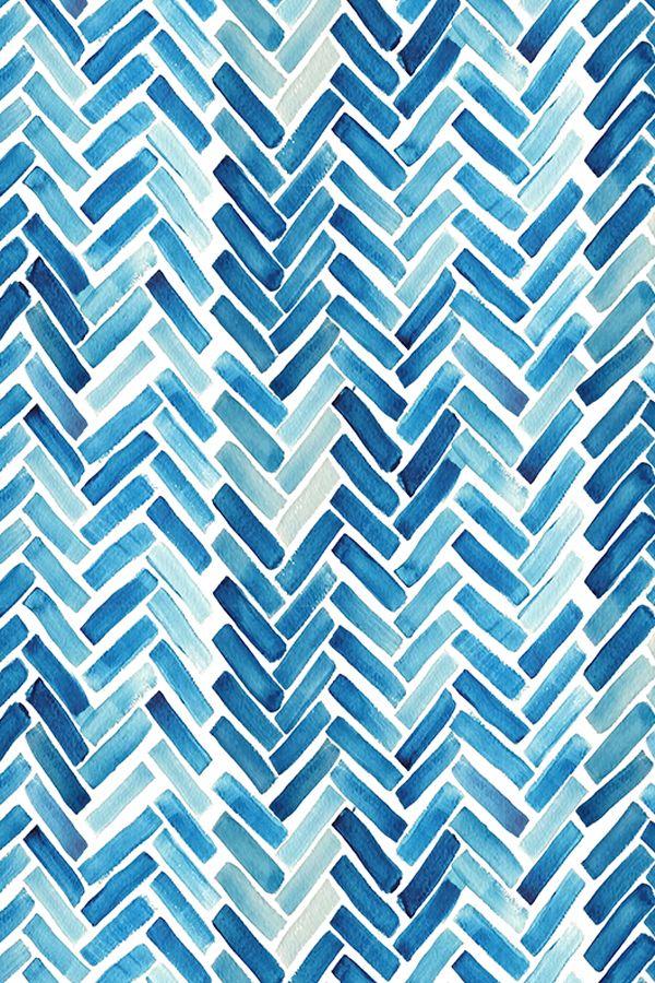 Blue Watercolor Herringbone Design On Fabric Wallpaper Or