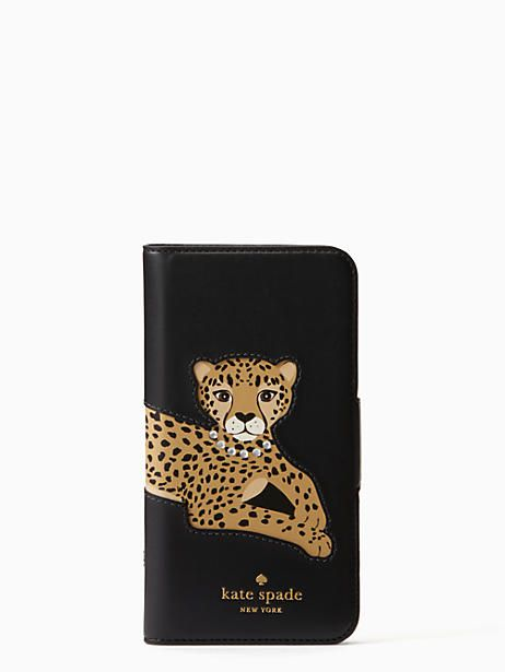 premium selection b7a48 9730d Kate Spade Cheetah Applique Folio Iphone 7/8 Case, Black | Products ...