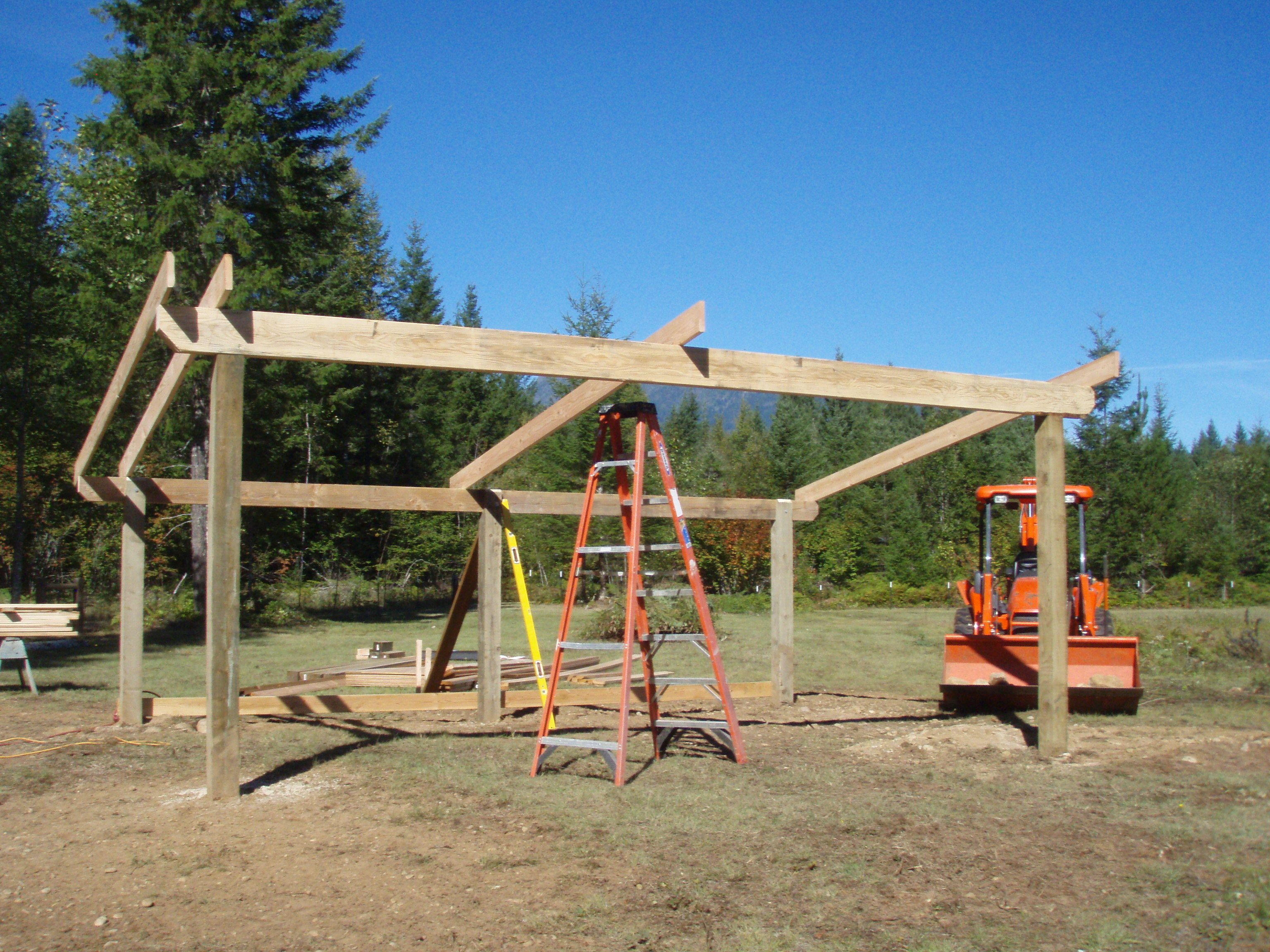 Building a loafing shed google search woodworking for How to build a pole barn plans for free