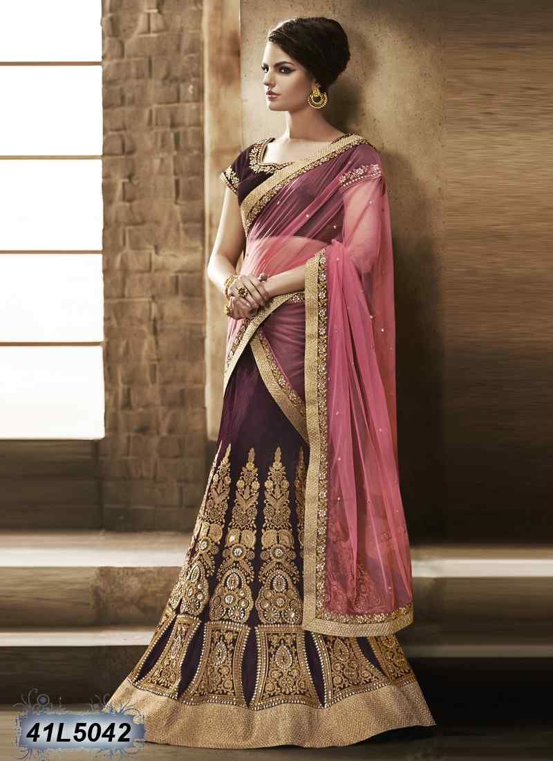 936ea55674 Beauteous Wine Colour Velvet Lehenga Choli | Enriching Heavy ...