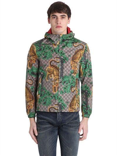 d877b8a59 GUCCI Tiger Print Nylon Jacquard Gg Jacket, Beige. #gucci #cloth #casual  jackets