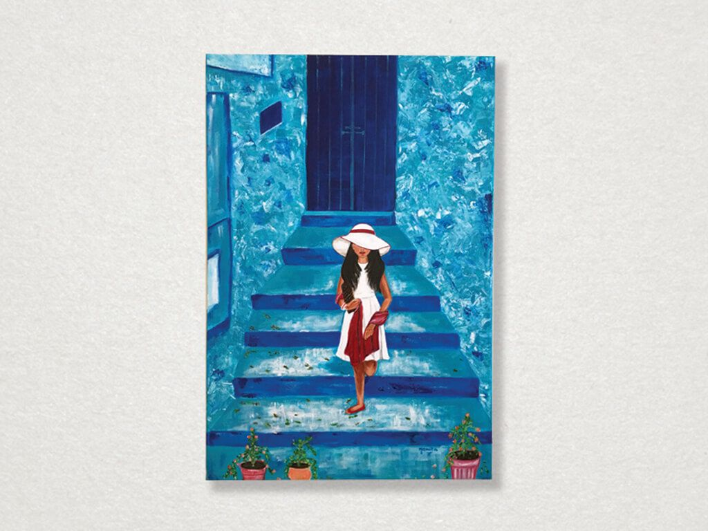 #NamitasArtworx - Mystery Girl in #Morocco  Acrylics on #canvas : The artist has painted this wisp of a girl climbing down the stairs in Medina, in the #Moroccan Blue Town of #Chefchaouen. The serene blue walls are textured to give a unique effect.  Click here for Price - http://www.namitasartworx.com/girl-in-blue-town.html