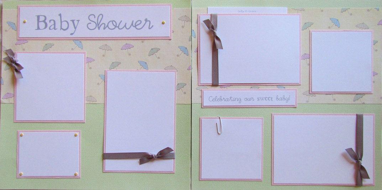 Baby Shower 12x12 Premade Scrapbook Pages Girl Boy Scrapbook Types