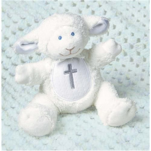 """Mary Meyer Baby Christening//Baptism Gift~5/"""" Plush Lamb Toy Rattle with Cross"""