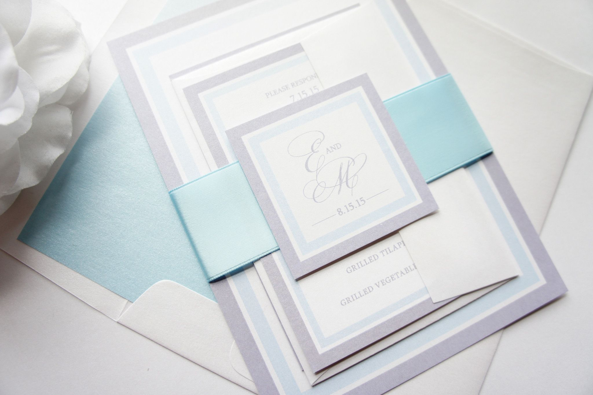 Light Blue Wedding Invitation Sample Set Belly Bands Grey