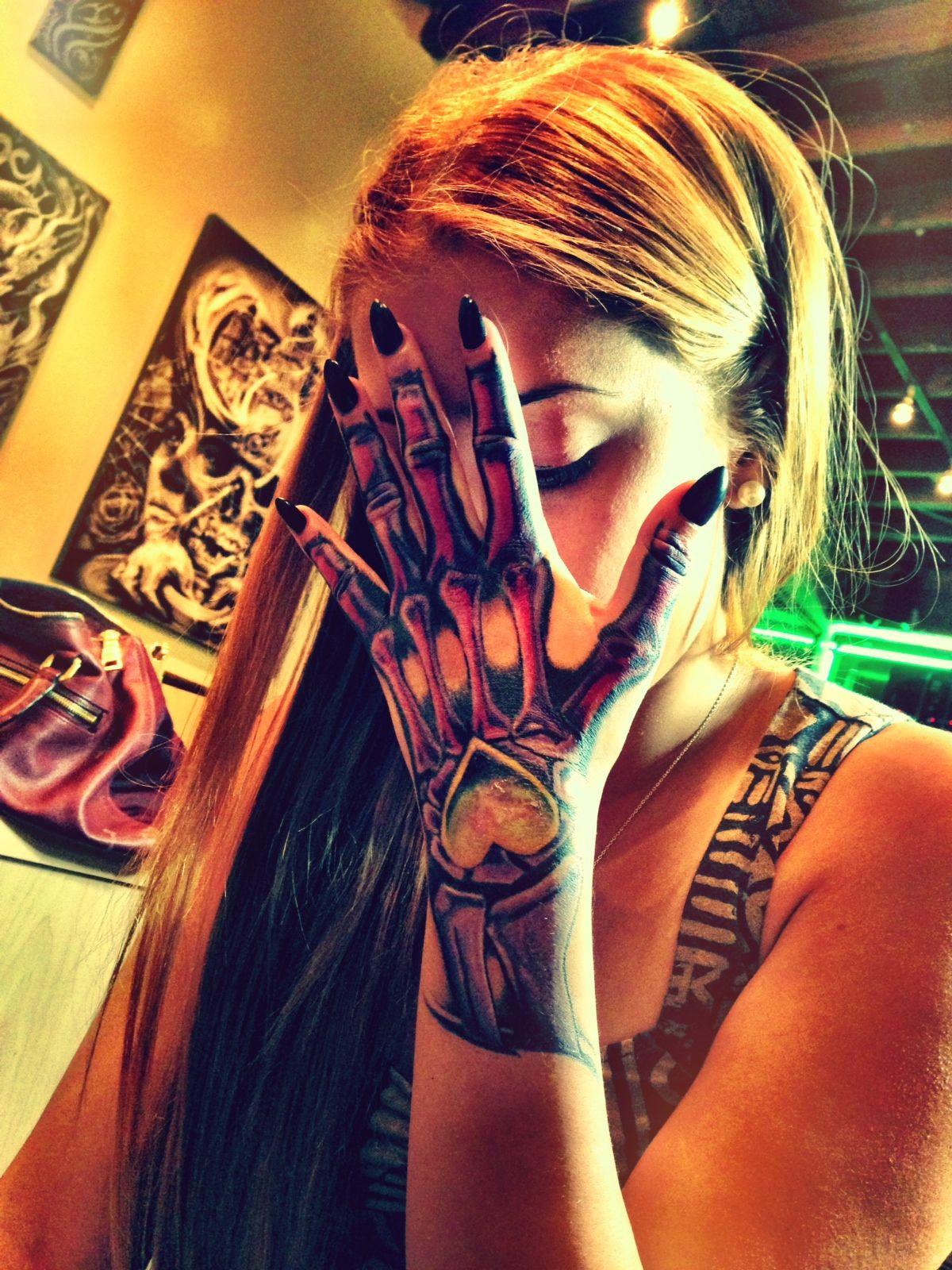 Girl knuckle tattoo ideas skeleton hand tattoo  tattoos  pinterest  skeleton hand tattoo