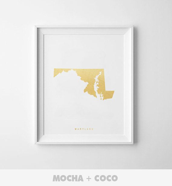 Maryland Gold Map Print US State PosterState Map Print - Print us state map